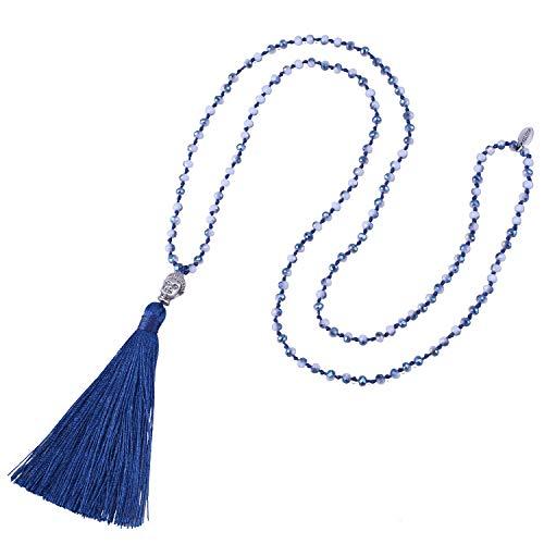 KELITCH Mode Kristall Strang Halskette Lange Kette Y- Gestalten Halskette Mit Buddha Kopf Quaste Anhänger Halskette - Tief Blau