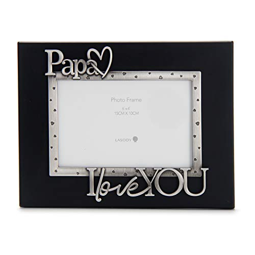 LASODY 'Papa I Love You Expressions Sentiment Picture Frame, 4x6 inch, Black, Photo Gift for Papa, Grandpa, Family, Display on Tabletop, Desk