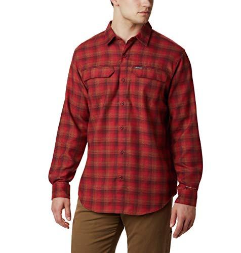 Columbia Silver Ridge 2.0 - Camisa de Franela para Hombre, diseño de Cuadros, Color Rojo