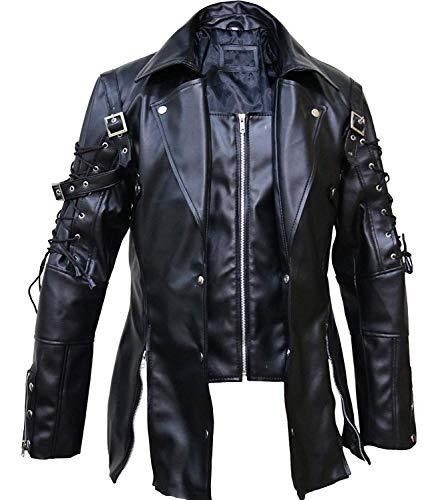 Chaqueta Punk Rave Poison negra para hombre, piel sintética, estilo steampunk, estilo gótico, para Halloween, XXS-3XL Negro Negro ( XXXL