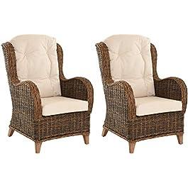 Birmingham Lot de 2 fauteuils de lecture confortables en rotin Marron naturel