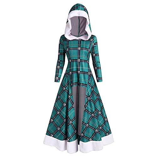 NISOWE Disfraz de Navidad para mujer, maxivestido, manga larga, con capucha, estampado a cuadros, vestido de fiesta, verde, XXL