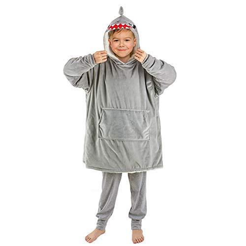 Beinou Shark Decke Hoodie Sweatshirt Kinder Kuscheldecke Hoody Kapuzenpullover Schlafanzüge Pullover Fleece Sherpa Plüschpyjamas Bademantel mit großer Tasche Geschenke für Jungen