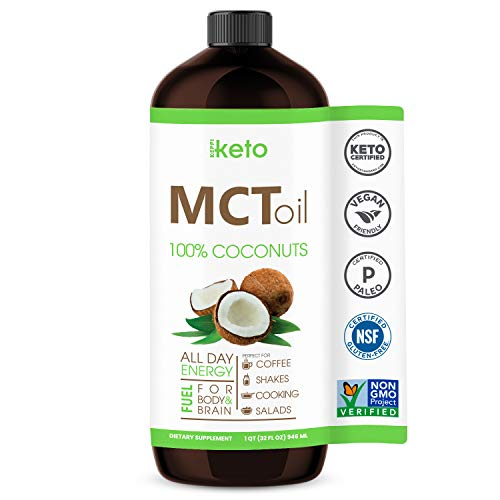 Keto Certified MCT Oil - Non GMO Project Coconuts - Flavorless - Paleo & Gluten Free Certified - Kosher - Halal - BPA Free 32oz