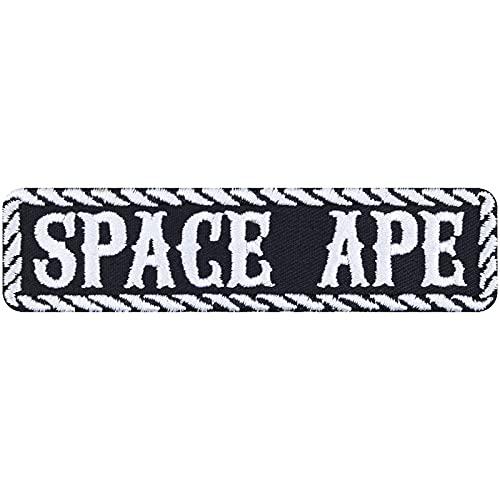 Parche Space APE para coser con plancha, para motero, imagen de planchado, pegatinas rocker, regalo para motociclistas, aplicación DIY para chaqueta/chaleco/jeans/maleta de moto, 100 x 25 mm