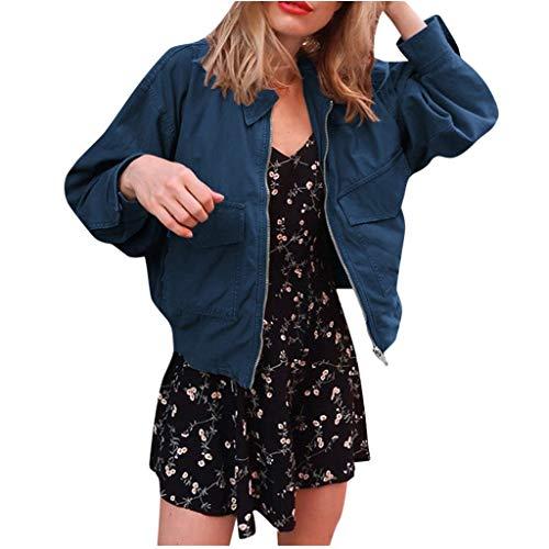 Bumplebee Oberteile Damen Elegant Reißverschluss Bomberjacke Damen Schwarz Kurz Revers Jacke mit Taschen Mode Einfarbige Outwear Sweatshirt Lässige Langarm Mantel Coat Herbst Winter
