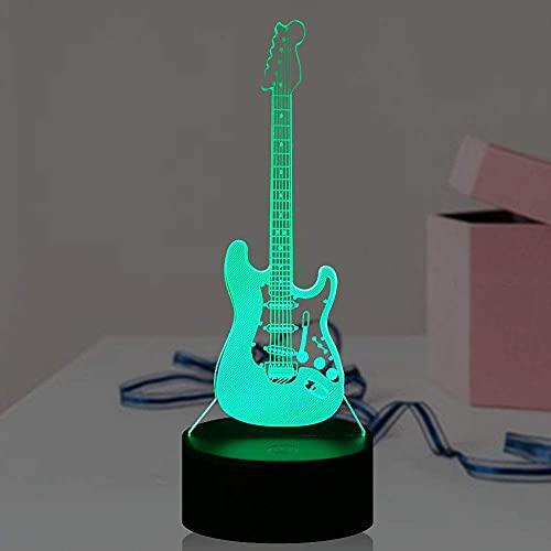 3D luz guitarra eléctrica modelo bajo lámpara para dormitorio niña 3D óptica RGB ilusión LED noche decoración casa lámpara de mesa cumpleaños fiesta brillo animación música filarmónica regalo amante