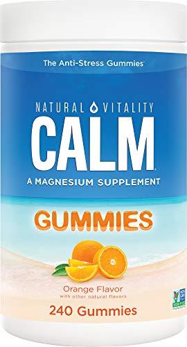 Natural Vitality Calm Magnesium Supplement, Anti-Stress Gummies, Vegan, Gluten-Free, Orange Flavor, 240 Gummies