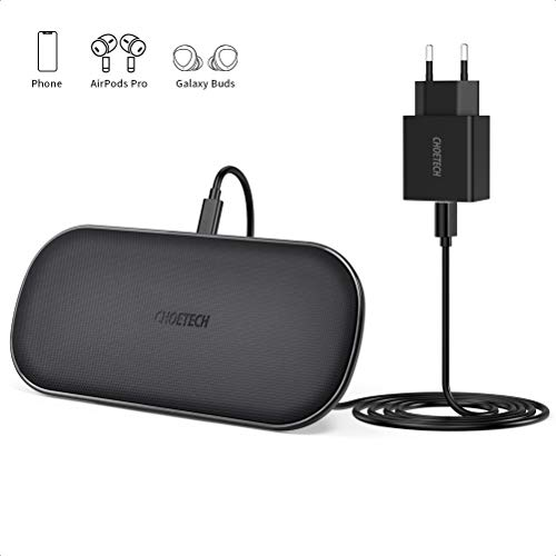 CHOETECH Caricatore Wireless Doppio, 5 Bobine con QC 3.0 Adattatore Ricarica Wireless 10W per Galaxy S20/S10/S9/S9 +/S8/S8 +/Note 8, 7.5W Fast Wireless Charger per iPhone SE/11/11 Pro/XSXR/X/8/8 Plus