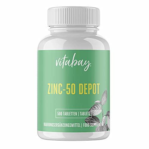 Vitabay Zink 50 Depot • 500 vegane Tabletten • Aus hochwertigem Zinkgluconat • Hochdosiert