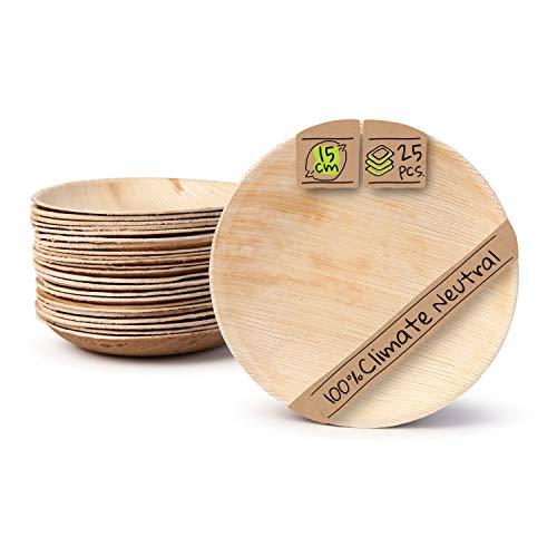 BIOZOYG Palmware Haute qualité d'assiette en Feuille de Palmier I 25 pièces d'assiettes Ronds du Feuille Palmier Ø15 cm I Bio jetable Vaisselle pour fête Rapidement décomposable