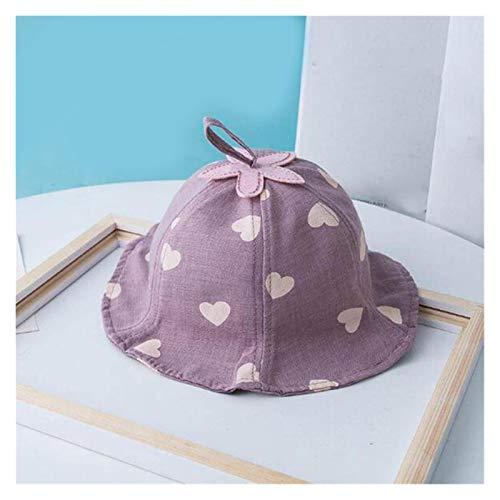 LIANGLMY Sombrero Primavera Lindo bebé Sol Sombrero corazón impresión bebé niño niña Sombrero al Aire Libre niños Cubo Sombrero niños Panama Sombrero bebé (Color : Style 1 Purple)