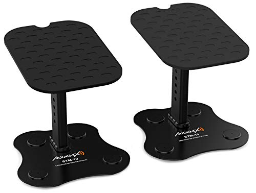 Audibax NEO STM-10 | 2 Stück Monitorständer | Tischaufzug | Einstellbare Tischunterstützung | Für Studiolautsprecher | Einstellbar für optimale Position | Reduziert störende Vibrationen Haltbarkeit