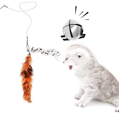 猫じゃらしAngelpetじゃれ猫猫のお好みじゃらし猫のおもちゃ天然鳥の羽棒鈴付き(レッド(8個セット))