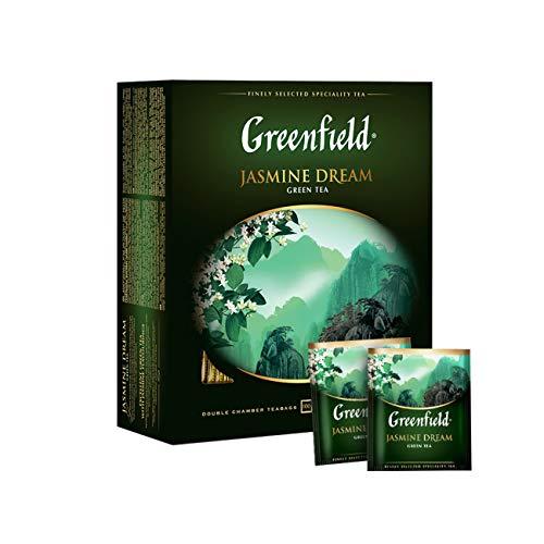 Greenfield Jasmine Dream, Grüner Tee mit Jasmin, Natürlicher chinesischer Jasmin Grüntee, Koscher, Glutenfrei, China, Green Tea with Jasmine, tea bags, 100 Teebeutel (100 x 2 g), 200g [100 Tassen]