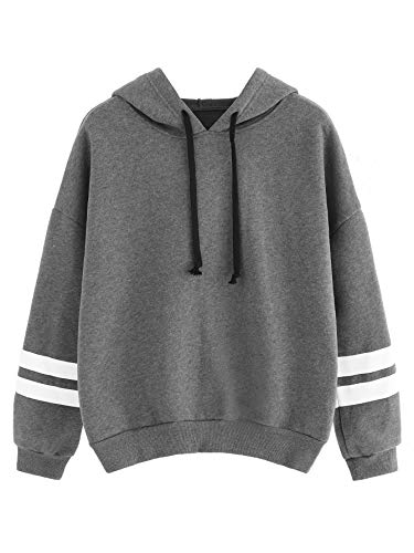 SweatyRocks Sweatshirt Pullover Fleece Drop Shoulder Striped Hoodie Grey X-Large