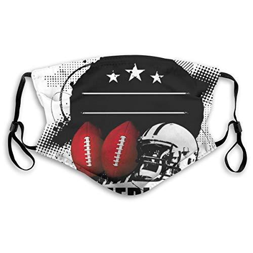 MundschutzMundAnti-Staub-Abdeckung,American Football Theme Grunge Looking Retro Composition with Balls,MouthCverWiederverwendbareFack-Abdeckung,m