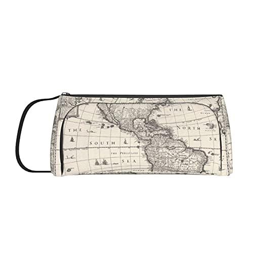 Antique Map America in The World - Estuche para lápices con asa