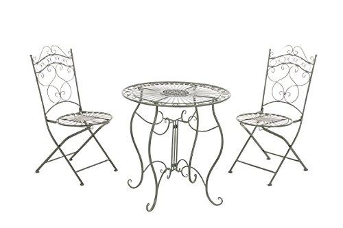 CLP Garten-Sitzgruppe Indra I Zwei Klappstühle Und EIN Tisch I Pflegeleichte Gartenmöbel Aus Eisen Im Jugendstil, Farbe:antik-grün