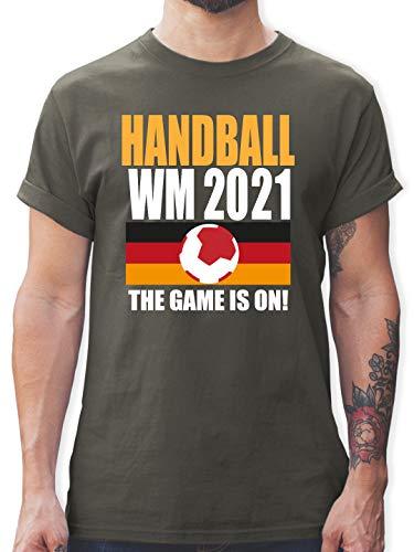Handball WM 2021 - Handball WM 2021 The Game is on! - L - Dunkelgrau - Deutschland - L190 - Tshirt Herren und Männer T-Shirts