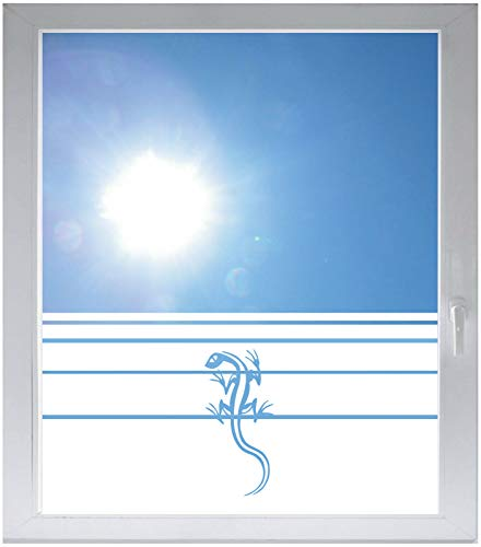 INDIGOS UG Sichtschutzfolie Glasdekorfolie Fensterfolie mit Motiv satiniert Blickdicht - w008 Gecko Echse Kriechtier Afrika Asien - 1000 mm Länge - 500 mm Höhe Streifen