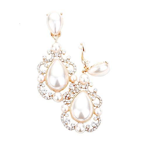 Schmuckanthony Hoernel - Pendientes largos de clip para boda, color dorado y transparente, perlas de color marfil y blanco, 7 cm de largo