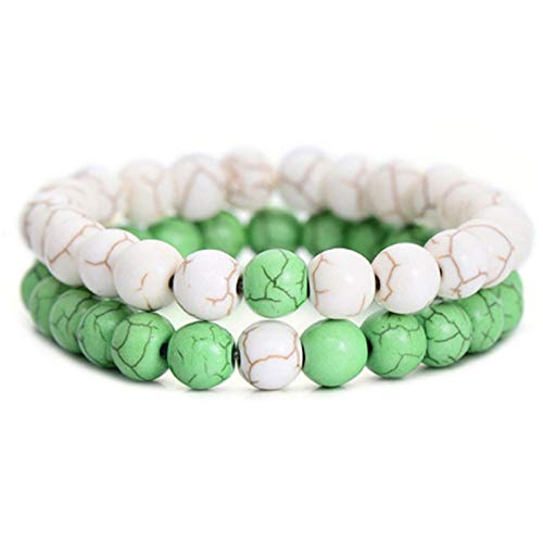 JWWLLT Men's Bracelets with Charms Natural Stone Jewelry Clothing Accessories Fashion Bohemian Beaded Bracelet Men Presents (Length : 20cm, Metal Color : Imitation Rhodium Plated)