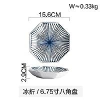 Mei-YY プレート/皿 ホーム日本の八角形のラインセラミックカトラリープレートディッシュライスボウル調味料食器カップ6.75インチ 食器