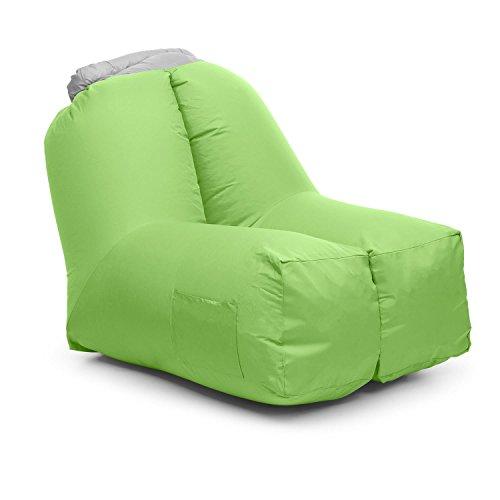 blumfeldt Airchair - Fauteil Gonflable, Imperméable, Sac de Transport Inclus, Lavable, Se gonfle Rapidement, Résistant, Confortable, Dimensions : env. 80x80x100cm, Charge Max: 200 kg, Vert