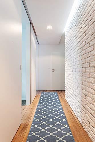 Passatoia Corridoio TRELLIS antiscivolo, per cucina, corridoio, soggiorno, robusto, moderno, grigio 133x190 cm