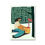 YINGFUN Música Abstracta Piano Jugando Lienzo Poster acordeón Trompeta Flauta impresión Pintura Retro Divertido Pared imágenes decoración del hogar (Color : J, Size : 40x50cm No Frame)