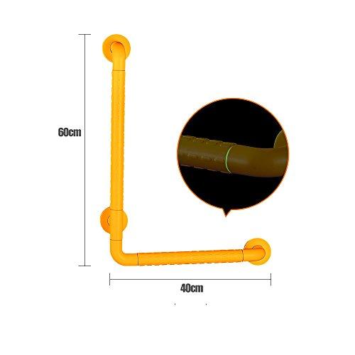 L Tipo in acciaio inox antiscivolo Bagaggista Bagno Paracadute Ringhiera Disabili Anziani Cassaforte Corrimano ( Colore : Giallo , dimensioni : 60*40cm )