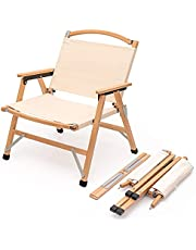 TOMOUNT クラシックチェア 木製 ウッド アウトドア チェア 折りたたみ椅子コンパクト耐荷重100kg キャンプ お釣り 登山 携帯便利 ベージュ