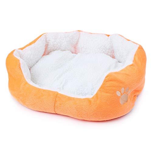 Wakerda Cama de lujo suave para perros y mascotas, cojín acolchado con forro polar grueso, tamaño 46 x 42 cm (naranja)