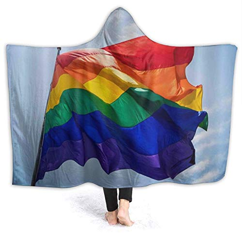 """VORMOR Tragbare Hoodie Decke,Regenbogen Stolz Flagge im Wind gegen blauen Himmel über San Diego Parade LGBT Hillcrest,Umhang Druck Grafik warm für den Winter 80 * 60\"""""""