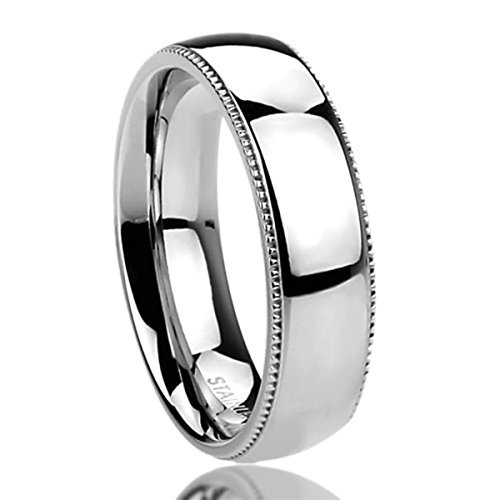 Prime Pristine 6mm Stainless Steel Wedding Band Ring for Men & Women Milgrain Edges Domed Classy Ring for Men & Woman SZ: 6