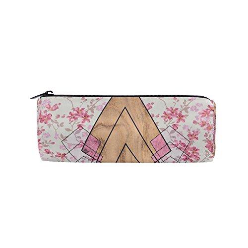 Isaoa Trousse ronde en bois de rose Motif Portable Pen Sac pochette de rangement Sac à main porte-stylo Convient pour étudiant ou travail de bureau de voyage maquillage Sac
