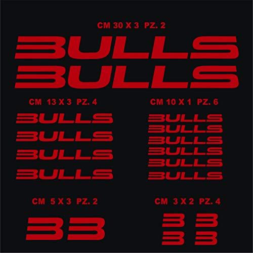 Pimastickerslab Fahrradaufkleber Bulls Kit 1 – Aufkleber Set 18 Stück – Farbe – Fahrrad Cycle Pegatina Code 1027, Rot (031 Rosso)
