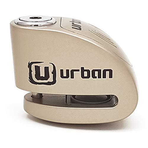 URBAN UR906M Candado Antirrobo Disco Alarma 120 db, Eje 6 mm Universal Moto Scooter Bici, Metálizado, Metálico