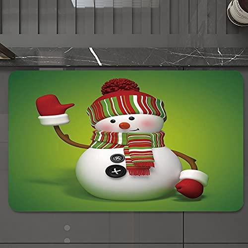 Alfombrilla de Baño Antideslizantes de 50X80 cm,Muñeco de nieve, Estilo 3D Diversión Persona, Tapete para el Piso Lavable a Máquina con Microfibras Suaves Absorbentes de Agua para Bañera, Ducha y Baño
