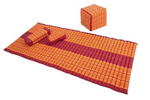 Set: Rollmatte 200x100cm + Würfel 40x40 + kleine Stützkissen. 100% Kapok Füllung