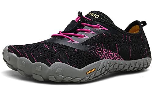 SAGUARO Barfußschuhe Herren Damen Traillaufschuhe Leicht Training Fitnessschuhe Wander Wald Strand Straßenlaufschuhe Outdoor & Indoor Sports Schuhe für Frauen Männer, Rot, 39 EU