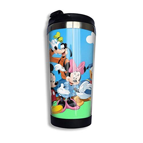 Lawenp Don-Ald Du-Ck Mickey Mouse y Goof-Y Taza de café con tapa abatible Arco iris Vaso de acero inoxidable Taza Botella de agua Taza divertida para hombres Mujeres Amigos
