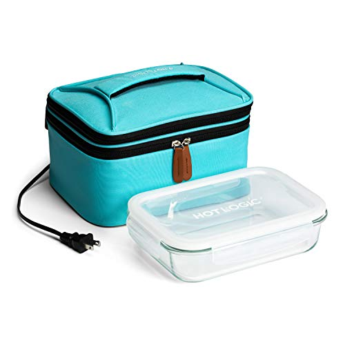 HotLogic 16801172-TL Food Warming Tote Lunch Bag Plus 120V with Glass Dish, Teal