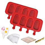 Ouddy Popsicle Molds with Lid, 2 Pcs Silicone Popsicle Molds for Kids 4 Cavities Ice Pop Molds Oval with 50 Wooden Sticks & 50 Parcel Bags & 50 Sealing Lines for DIY Ice Popsicle - Red
