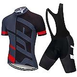 abbigliamento ciclismo da uomo completo jersey ad asciugatura rapida giacca da ciclismo + shorts da ciclismo con gel pad anti-sweat anti-uv abbigliamento per bici da mtb (grigio- nero, l)