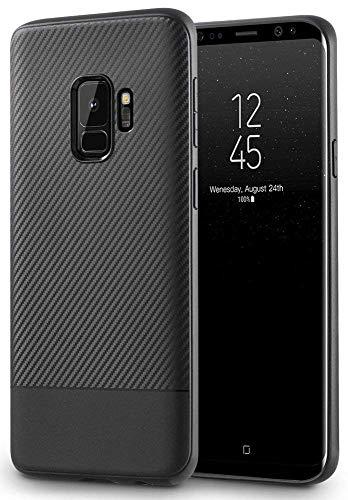 AVANA Hülle für Samsung Galaxy S9 Schutzhülle Slim Case Schwarz Schutz Silikon TPU Schale Kratzfest Kohlefaser Handyhülle Bumper Cover Carbon Optik