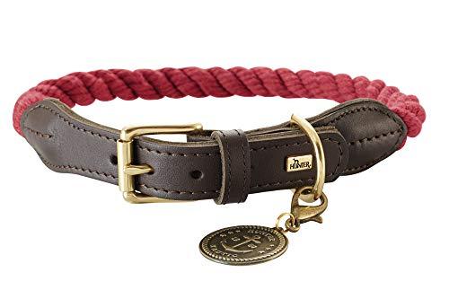 HUNTER List Hundehalsband, Tau, Leder, maritim, strapazierfähig, wetterfest, geschmeidig, 50 (S-M), bordeaux