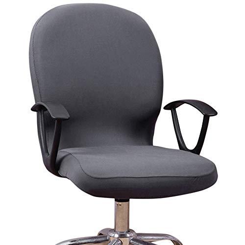 Dightyoho Funda para Silla de Oficina Elástica Universal, Cubierta de Silla de Escritorio de Ordenador Extraíble Lavable, Negro (Gris) ⭐