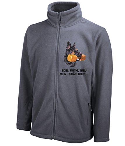 Siviwonder Unisex Fleecejacke Deutscher SCHÄFERHUND Hundesport Hunde Stickerei Dark Grey 3XL